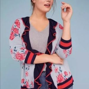 Lane Bryant Rose Floral Ruffle Cardigan Sweater 22